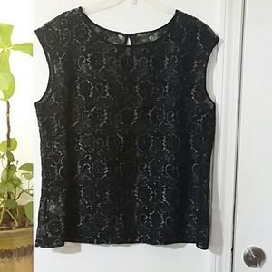 Black lace overlay style top